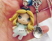 Chibi Alice in Wonderland ooak necklace made in italy