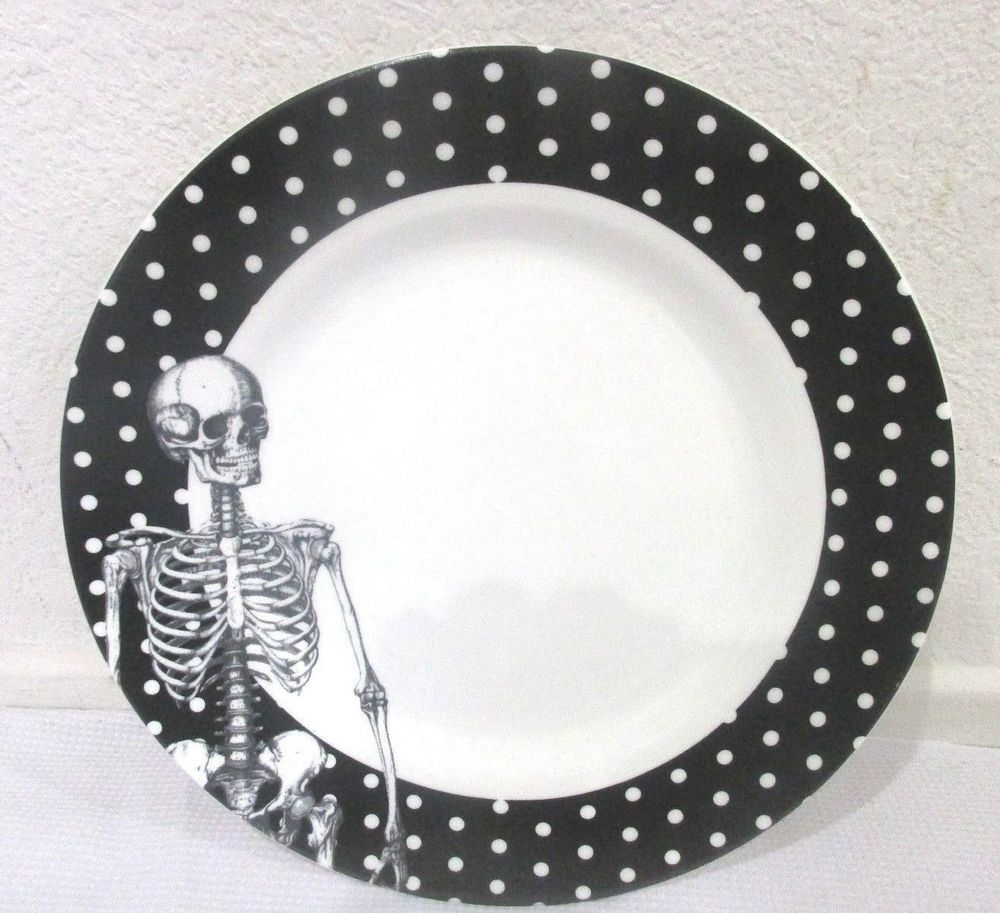 Ciroa Halloween Skeleton Black White Polka Dot Dinner Plate 1 or 2 #Ciroa  sc 1 st  Pinterest & Ciroa Halloween Skeleton Black White Polka Dot Dinner Plate 1 or 2 ...