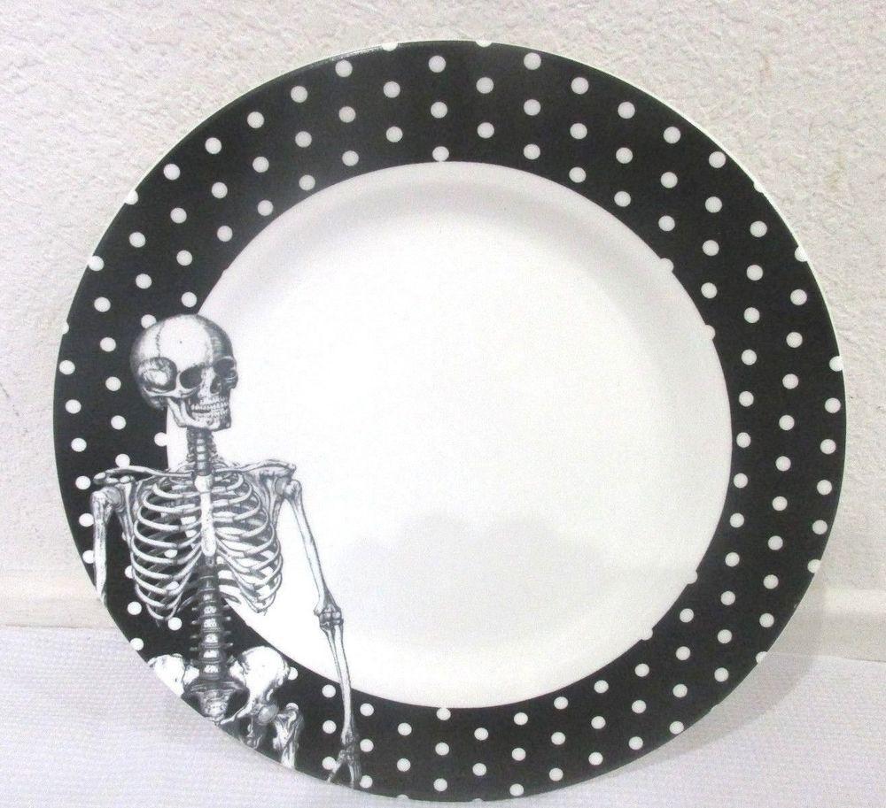 Ciroa Halloween Skeleton Black White Polka Dot Dinner Plate 1 or 2  sc 1 st  Pinterest & 222 FIFTH