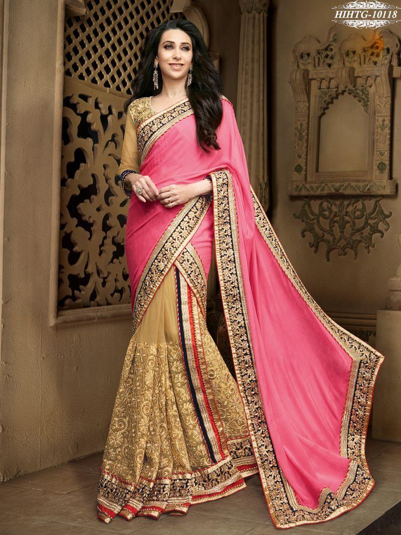 Shonaya pink u beige colour net u chiffon embroidery saree with