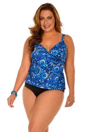 4fb3cb394620f Miraclesuit Plus Size Tile Style Tankini Bathing Suit Top. Color blue. This  ladies swimsuit