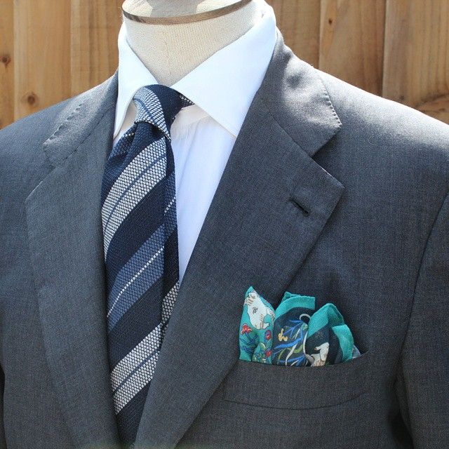 exquisitetrimmings:  Tie Your Tie wool & silk hand rolled grenadine tie paired with the iconic Drake's unicorn pocket square.  For more details or to purchase go to www.ExquisiteTrimmings.com