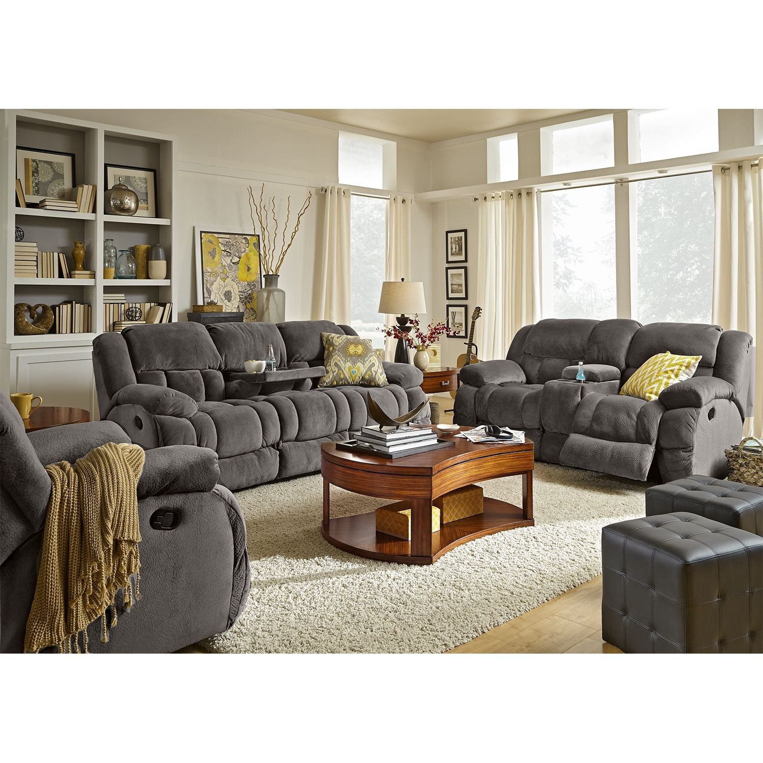 Park City 2 Pc Reclining Living Room W Glider Recliner Value City Furniture Comfortable Living Room Furniture Living Room Sets Furniture