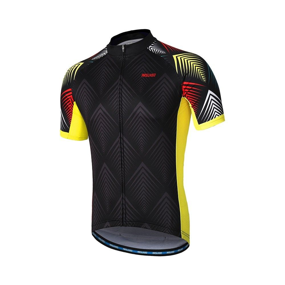ARSUXEO Men Cycling Jersey Short Sleeve Mountain Bike Bicycle Shirt Quick Dry