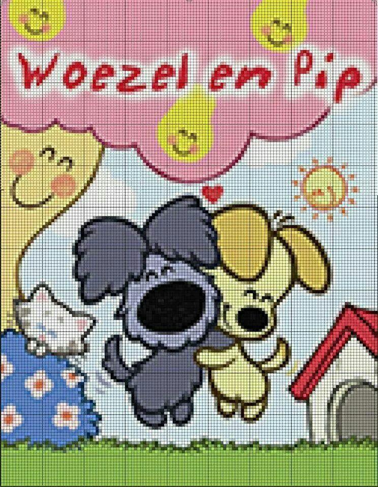 Woezel en Pip | woezel en pip | Pinterest | Punto de cruz y Puntos
