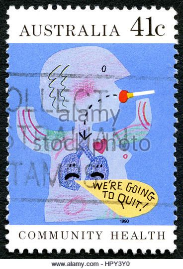 AUSTRALIA - CIRCA 1990: A used postage stamp from Australia, promoting a message to Quit Smoking, circa 1990. - Stock Image
