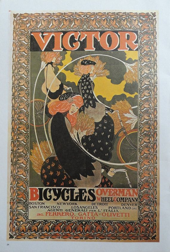 Vintage Bike Poster Victor Bicycles Overman Wheel Company Snell American Cycles Paris Vintage Bicycle Poster Print Bike Poster Bicycle Art Vintage Posters