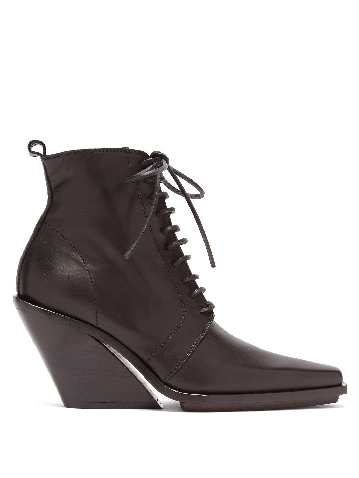 c26d1e845ac Slanted-heel lace-up leather ankle boots | Ann Demeulemeester ...