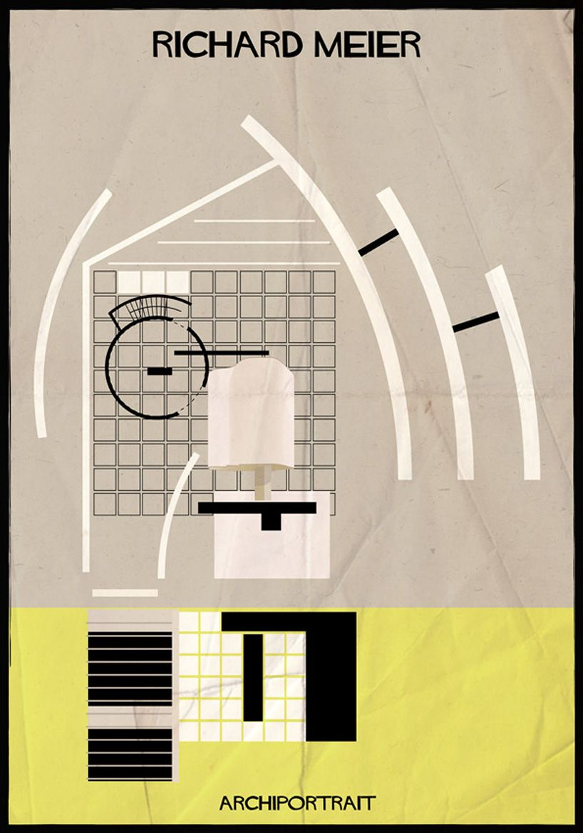 federico babina illustrates renowned architects in their own style ...