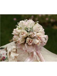 Elegant Small Light Rose Silk Cloth Wedding Birdal Bouquet