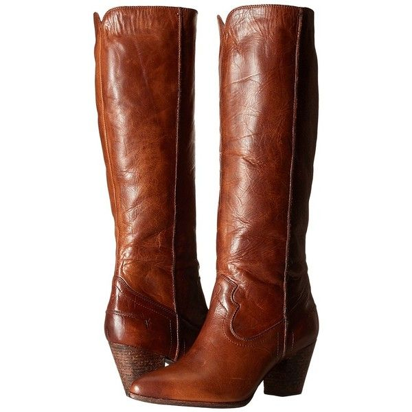 Frye Renee Seam Tall (Cognac Washed Antique Pull Up) Cowboy Boots ($303)