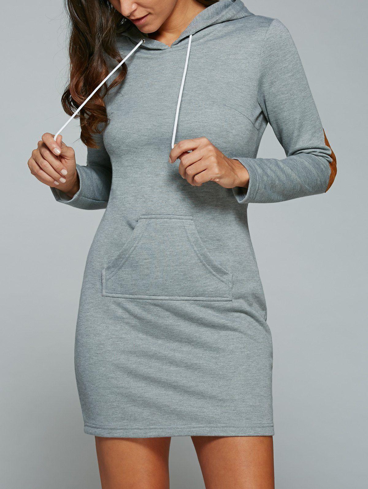 Kangaroo Pocket Elbow Patch Hoodie Dress Hoodie Dress Outfit Hoodie Dress Cheap Dresses Long Sleeve [ 1596 x 1200 Pixel ]