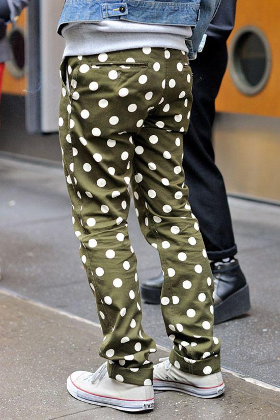 2a32943d562173 Green Polka Dot chino pants x white Chuck Taylor All Star ...