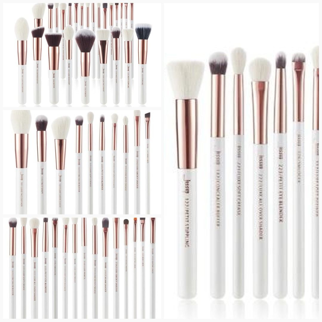 Professional Pearl White/Rose Gold Makeup brushes set