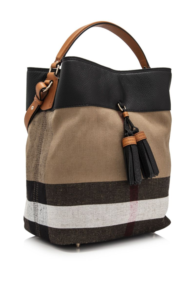 7db63b197b92 BURBERRY - Burberry Brit Grainy Canvas Check Medium Ashby Tassel Hobo