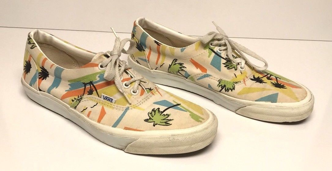 674760650b Vintage Vans Shoes Men s 11 Canvas Lace Up Made in USA Hawaiian Palm Trees  Retro