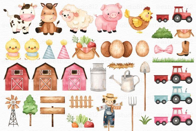 Cute Farm Clipart Farm Animals Watercolor Digital Clipart Etsy Watercolor Animals Farm Animals Clip Art