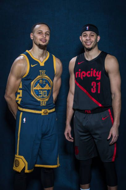 ef02a1c4caa Stephen Curry of the Golden State Warriors and Seth Curry of the Portland  Trail Blazers pose for a portrait during the 2019 State Farm AllStar.