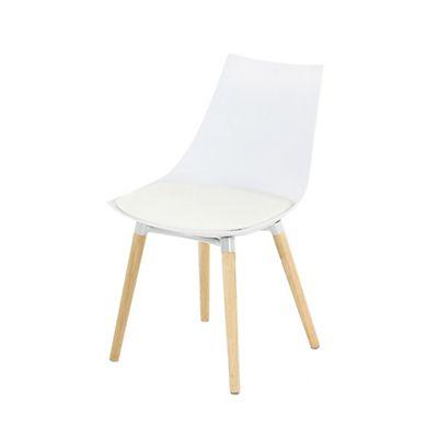 chaise blanche avec pitement en bois design scandinave - Chaise Blanche Scandinave