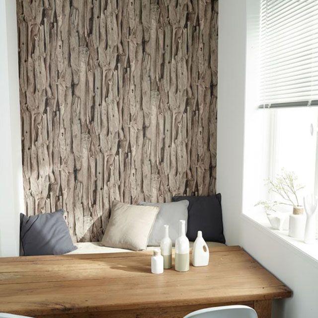 Papier peint vinyle sur intissé Bois flotté brun mat - CASTORAMA