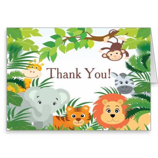 Modern Jungle Safari Baby Shower Thank You Card Note cards - baby shower thank you notes