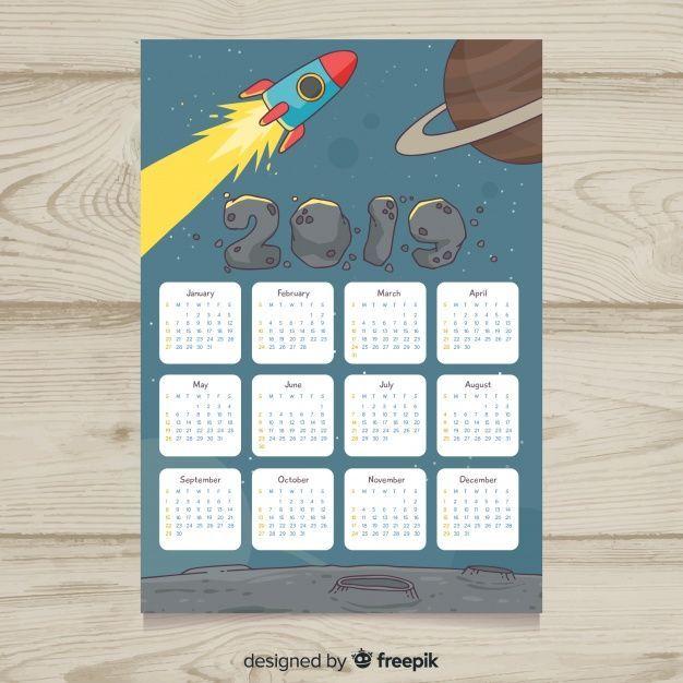 Modern hand drawn 2019 calendar template calendars Pinterest