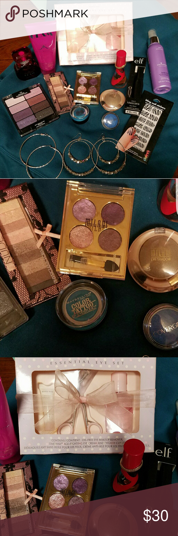 ***Big Chick Bundle*** Big mixture everything is brand name:1.Mary Kay Essential Eye Set-never used, in box. 2.Kim Kardashian Glam perf&lotion- barley used. 3.WetNWild  8 shadows one shadow has one swipe.4. Physicians Formula, nude palette couple swipes.5. Milani Fierce Foil Eye Shine-wet- one swipe in one shadow.6. Milani shadow two swipes.6. Maybelline Color Tattoo-wet-one swipe.7. Covergirl shadow-never used.7. Rihanna Rebelle .5oz 1/2 full.8. Brand new Elf mascara-black.9.Regis heat…