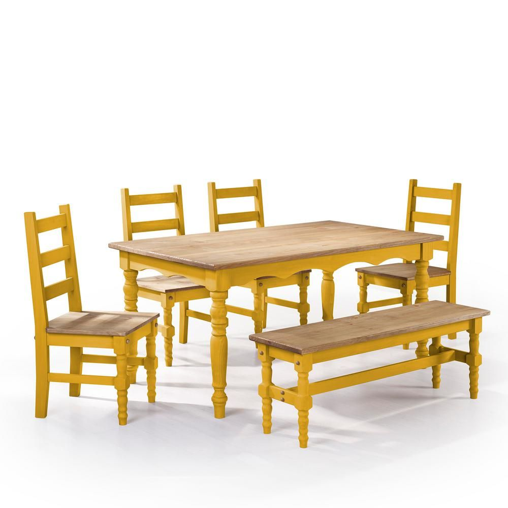 Jay Piece Blue Wash Solid Wood Dining Set with Bench Chairs