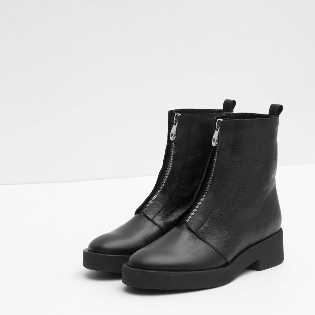 Ankle Boots With Zip View All Shoes Woman Zara Canada Sepatu