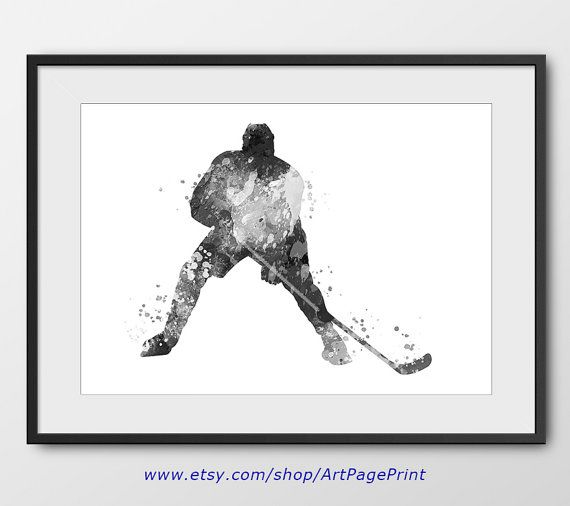 Hockey black and white poster no3 sport wall art sport poster hockey decor