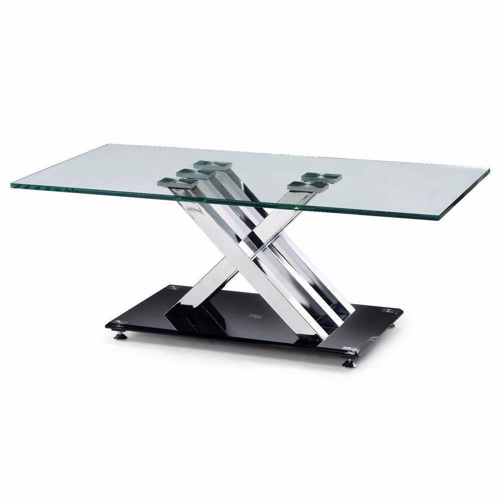 Glass coffee table shelf contemporary chrome legs rectangle glass coffee table shelf contemporary chrome legs rectangle mirrored furniture geotapseo Image collections