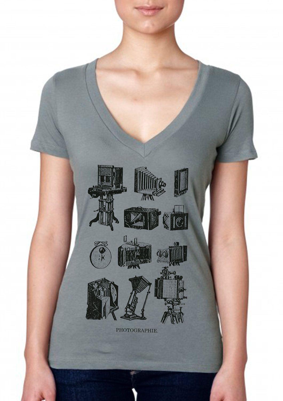 Zazzle t shirt design size - Photography Shirt Vintage Design Photographie Women S Warm Grey V Neck Camera T