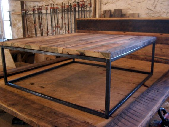 Large Square Coffee Table With Industrial Metal Base Coffee