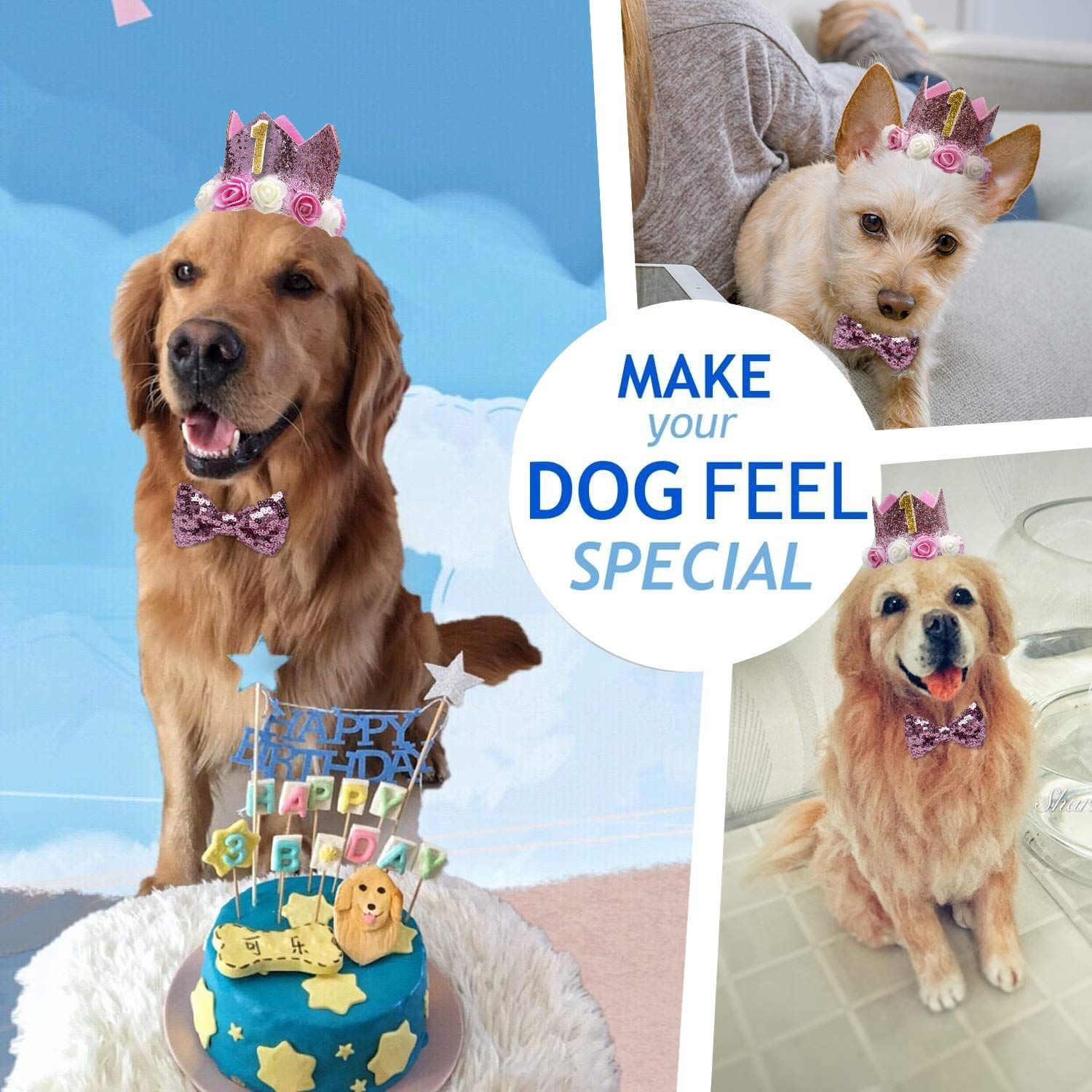 PET SHOW Crown Dog Birthday Hat for Girls Reusable Birthday Party Cat kitten Headband with 1-9 Figures Charms Grooming Accessories Pack of 1 Pink