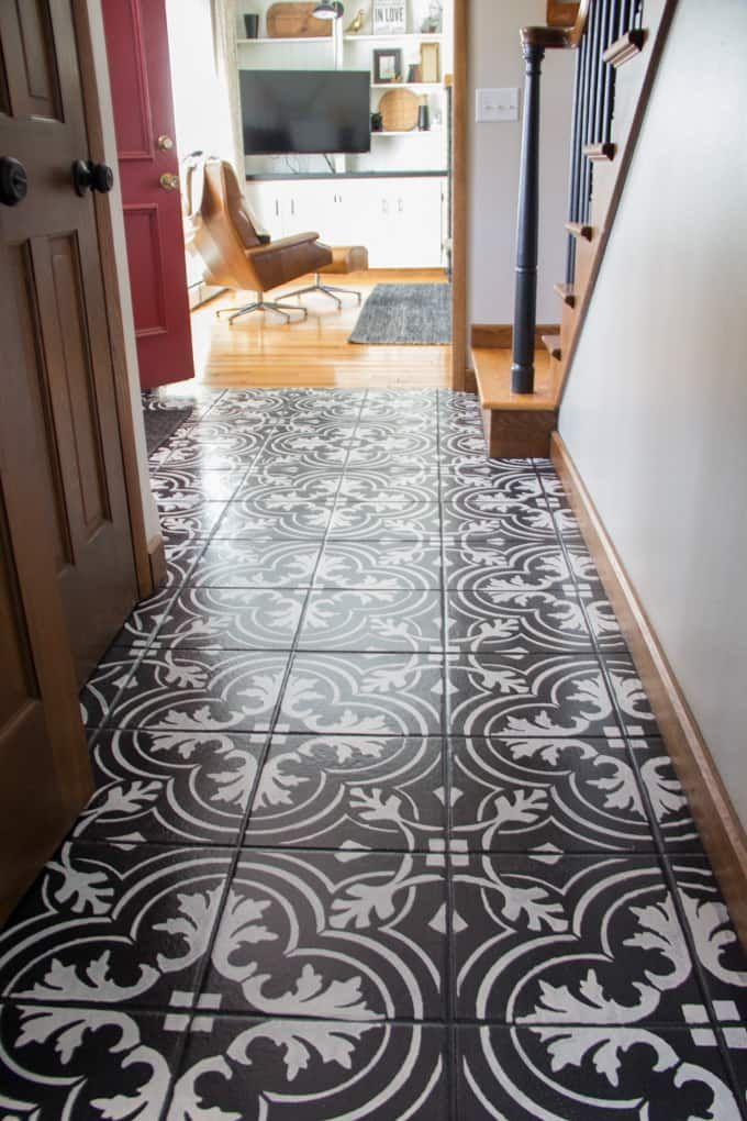 Faux Cement Tile Painted Floors Pinterest Cement Tile Painting
