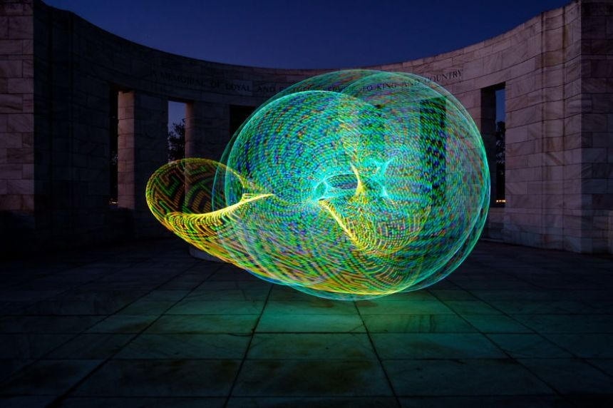 FutureHoop: Photographer paints with light using dozens of brightly lit hula hoops | Creative Boom