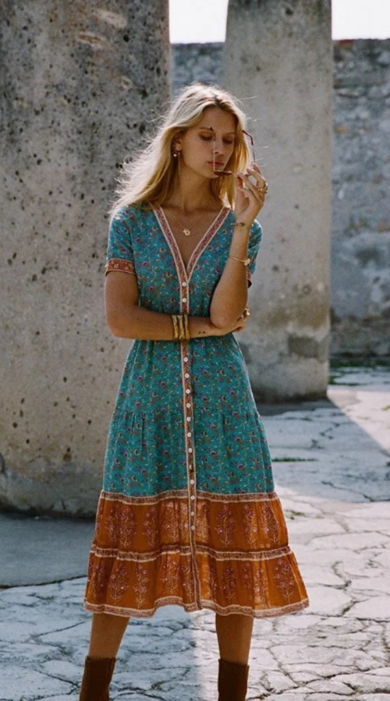 7a4ceb6b4a673 Boho Turquoise Floral Button Down Dress in 2019 | The New 2019 Hot ...