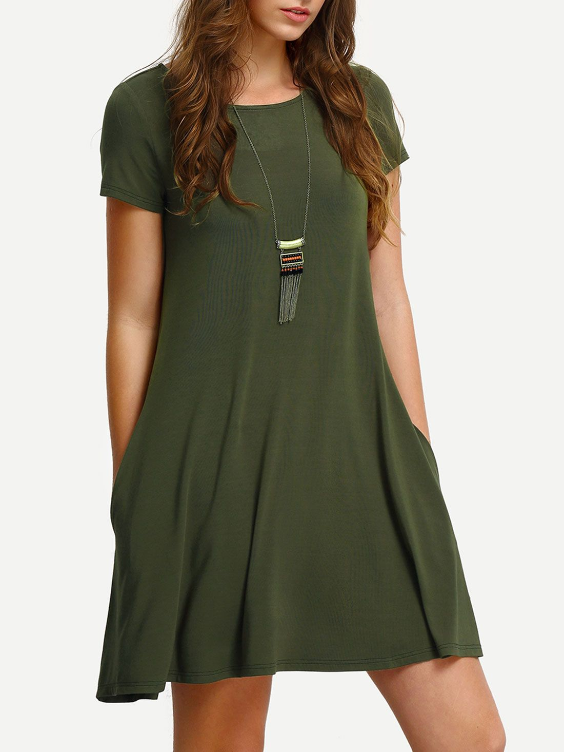 Short Dress OnlineShein Green Offers Army Sleeve Shift Shop Casual Aq4R3L5j