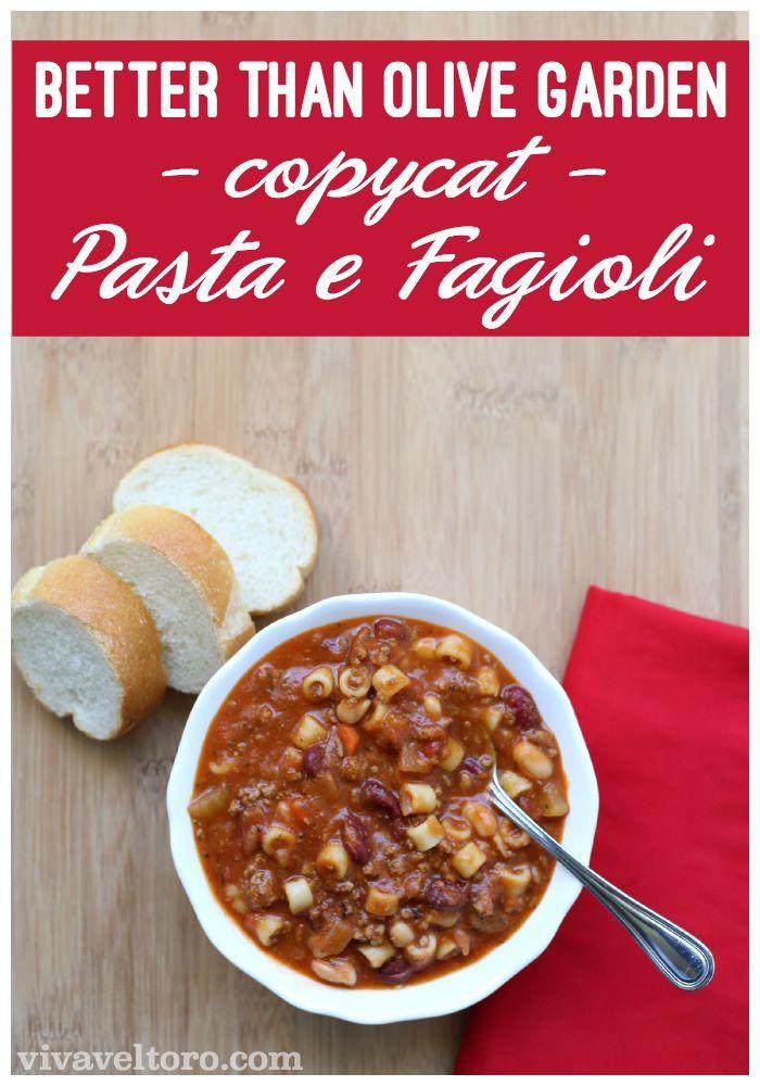 This copycat Olive Garden Pasta E Fagioli soup recipe is ...