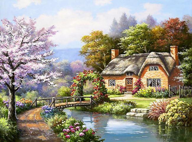 Custom personalized casa de campo pintura de paisaje papel - Paisajes de casas ...