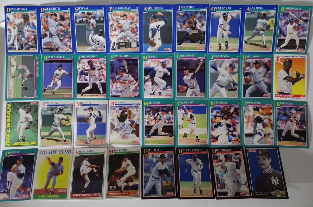 1991 score new york yankees team set of 35 baseball cards