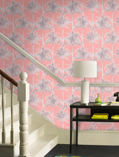 An all over wallcovering design featuring exotic palm trees. Shown here in the coral pink colourway. Other colourways are available. Please request a sample for a true colour match. Repeat - 8.9""