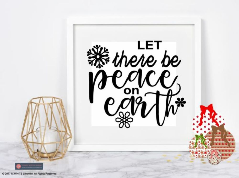 Let there be peace on earth vinyl sticker christmas box frame shadow frame