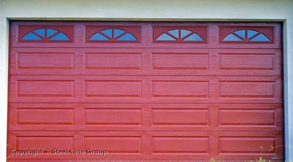 Steel Garage Door Texture steel-line's ranch sectional garage door with sherwood windows