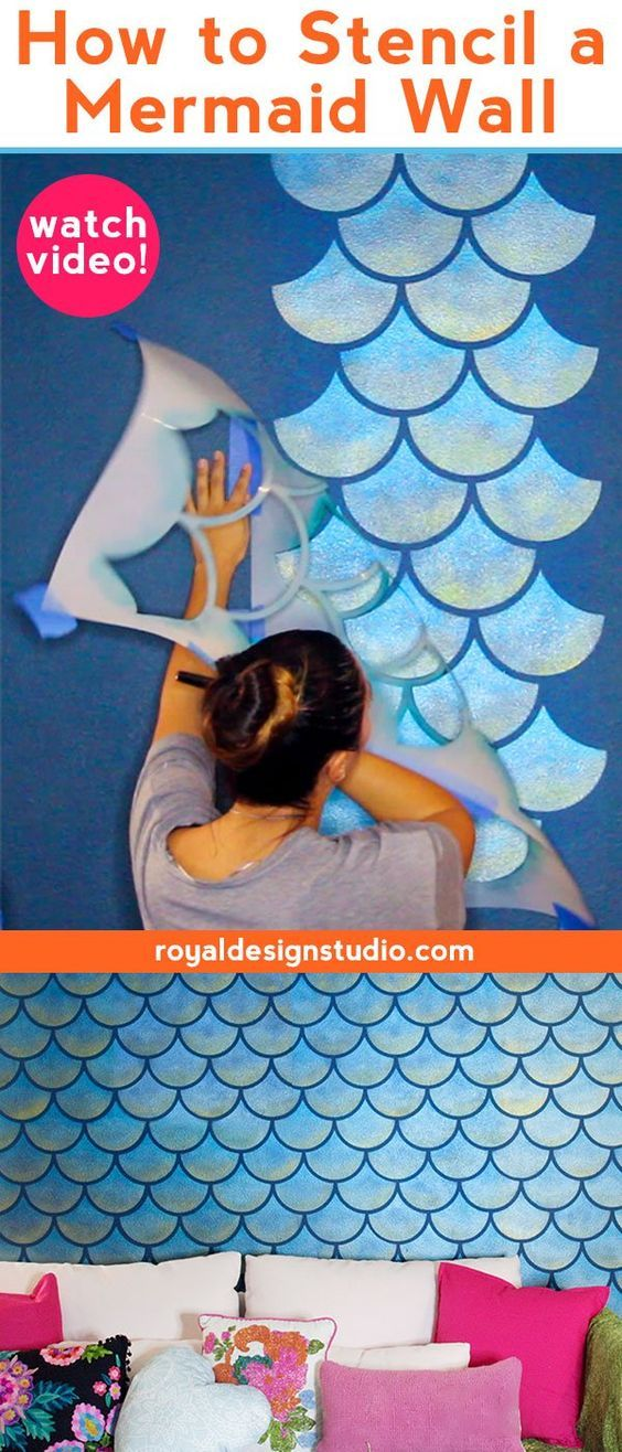How to Stencil a Mermaid Fish Scales Wall images