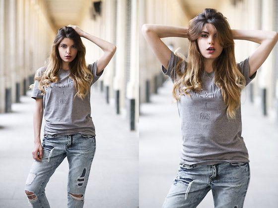 H&M Ripped Jeans, Nous Sommes A Paris Grey T Shirt