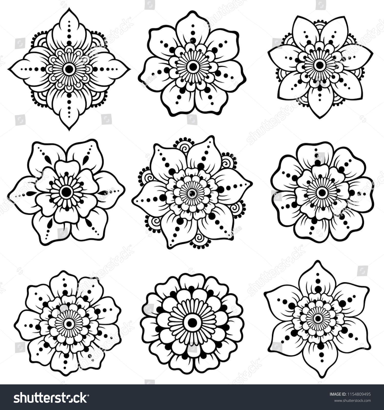 Dehna Tatowierung Blume Vorlage Mehndi Lizenzfreies