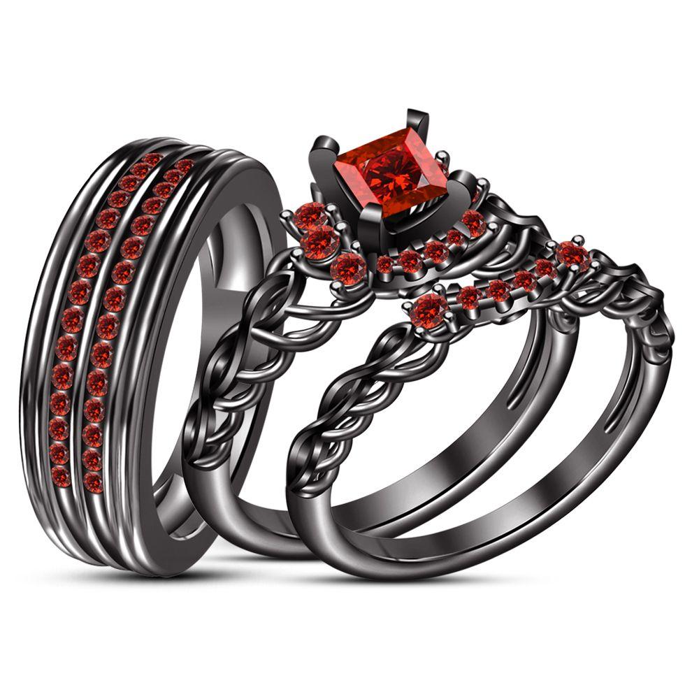 His Her Red Garnet Wedding Band Engagement Ring Trio Set Black Gp 925 Silver Wedding Ring Trio Sets Garnet Wedding Rings Garnet Wedding