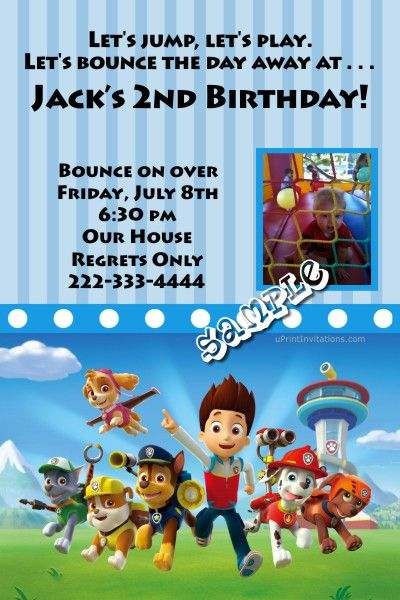 Paw Patrol Birthday Invitations Any Color Scheme Any