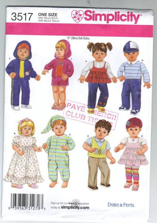 Free Copy of Pattern - Simplicity 3517 | Doll Clothes | Pinterest ...